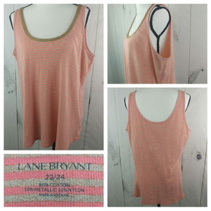 🌴3/$20 Lane Bryant Metallic Striped Tank Top